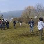 Entretien d'une haie à Coffrane par une équipe de l'organisation Up with People, encadrée par l'APSSA et la commune de Val-de-Ruz, avril 2013. Photo : Jean-Lou Zimmermann.